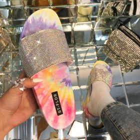 Fashion, pad dyeing, muffin, thick bottom, one word sandals
