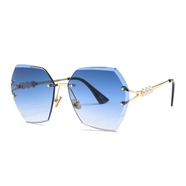 Irregular, trimming, sunglasses, fashion, frameless, sunglasses, pearl leg