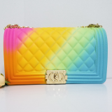 Lingge, single shoulder, chain, colorful package, gorgeous, frosted, diagonal span, jelly package