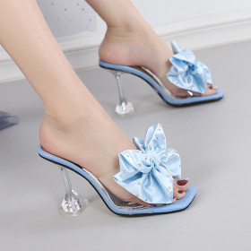 Fashion, open toe, sandals, square head, flip flops, stilettos, high heels, flowers
