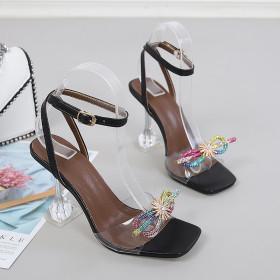 Stilettos, open toes, bows, sandals
