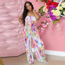 Printed, chest wrapped, wide leg, Jumpsuit