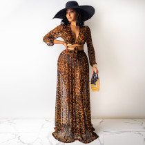 Leopard print, chiffon, printed skirt, suit, two piece set (excluding underwear)