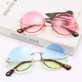 Round, frameless, lace, trim, sunglasses