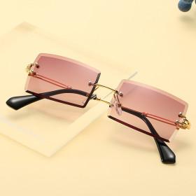 Frameless, trimming, square, sunglasses, fashion, small glasses, sunglasses