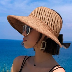 Sunscreen, sunshade, sun hat, anti ultraviolet, foldable, empty top, cool hat, straw hat