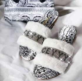 Cashew, satin, rhinestones, woolly slippers, letter sandals