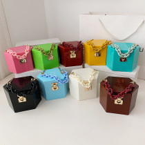 PVC, candy color, dinner, box, bag, mini, portable, chain, shoulder bag