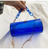 Cylinder box, small bag, acrylic, transparent, chain, Messenger, jelly bag