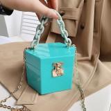 PVC, candy color, dinner, box, bag, mini, portable, chain, shoulder bag