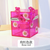 Small daisy, acrylic, chain, box bag, transparent bag, cosmetic bag, cross, vacation bag