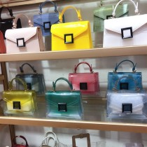 Jelly bag, transparent, PVC bag, gradient color, small square bag, handbag, one shoulder, diagonal span