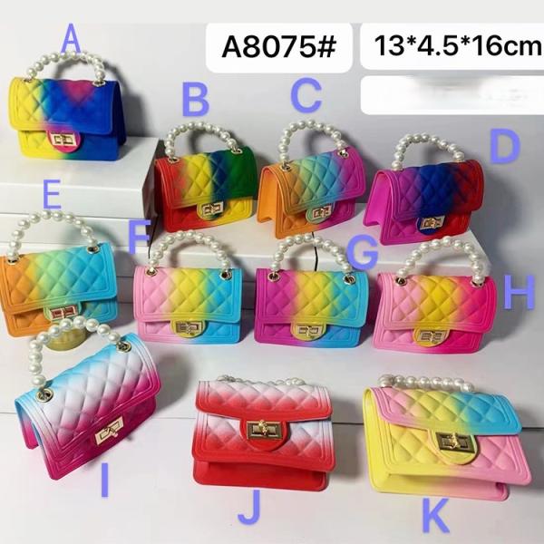Gradient, mini, rainbow bag, pearl, handbag, rhombic, chain, single shoulder, diagonal span, jelly bag