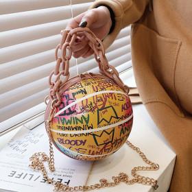 Shape, personality, painting, graffiti, basketball bag, chain, small round bag