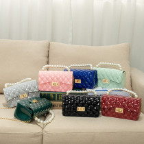 Pearl, portable, Lingge, PVC jelly bag, fashion, chain, Messenger, single shoulder, small bag