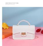 Pearl, portable, small square bag, shoulder bag, chain, messenger bag