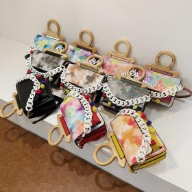 Retro, crocodile, wooden, portable, small square bag, fashion, chain, shoulder bag