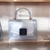 Jelly bag, transparent, PVC bag, gradient color, small square bag, handbag, one shoulder, diagonal span