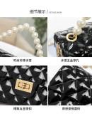 Pearl, portable, Lingge, PVC jelly bag, fashion, chain, Messenger, single shoulder, small bag
