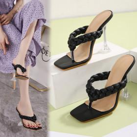 Transparent, crystal heel, stiletto, sandals, slippers