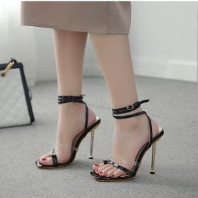 Transparent, color matching, plated heel, high heel, toe set, sandals