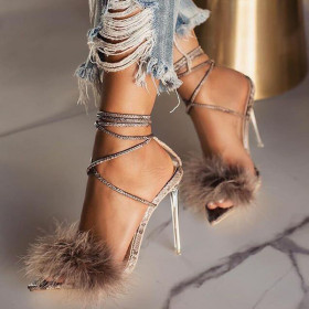 Feather, bandage, Roman, transparent, crystal, high heels, pointed, stiletto, sandals