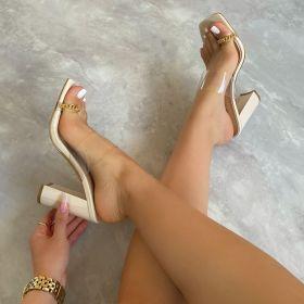 Transparent, PVC, metal, chain, toe set, thick heel, sandal