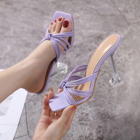Open toe, sandals, transparent, high heels, slim heels
