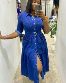 Lapel, single breasted, belt, long sleeve, denim skirt