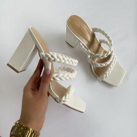 Fashion, knitting, square head, thick heel, high heel, sandal