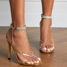 Fashion, clip toe, Rhinestone, buckle, high heel, sandals