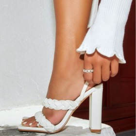 Twist, knitting, double wear, thick high heels, sandals
