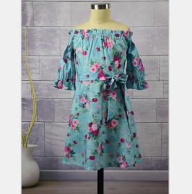 Half sleeve, shoulder, lotus sleeve, dress, parent-child dress