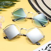 Fashion, round frame, square lens