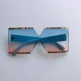 Frameless, diamond inlaid, sunglasses, large frame, square, colorful, sunglasses