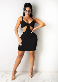 Pit bar, suspender, chest wrapped, hollow out, sexy, Jumpsuit skirt