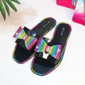 Diamond, color, bow, flat bottom, one word, sandals