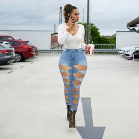 High elastic, slim, creative, holes, jeans, leggings