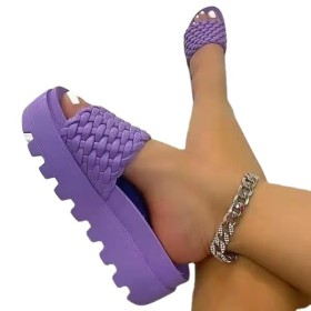 Thick sole, middle heel, woven, one line, slipper