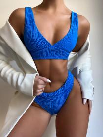 Split, pleated, swimsuit