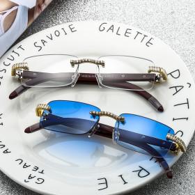 Diamond inlaid, sunglasses, frameless, flat glasses, sunglasses