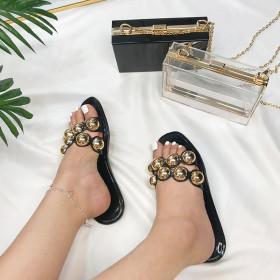 Crystal, jelly, metal bead, flat bottom, sandals
