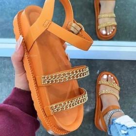 Heavy soles, metal chains, buckles, sandals