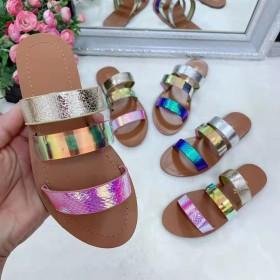 Round head, flat bottom, snake pattern, beach slippers