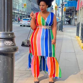 Color bar, printed V-neck, dress