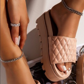Thick soled middle heel, one line, slippers, beach slippers