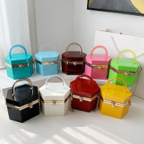Candy color, acrylic, chain, handbag, hexagon, one shoulder, messenger bag