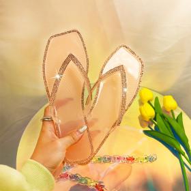 Color diamond, flat bottom, slipper, jelly, flip flop