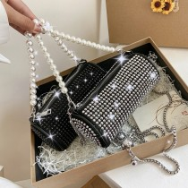 Pearl, portable, cylinder bag, chain, shoulder bag