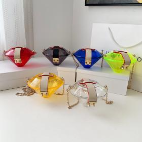 PVC, transparent, jelly box, chain, messenger bag